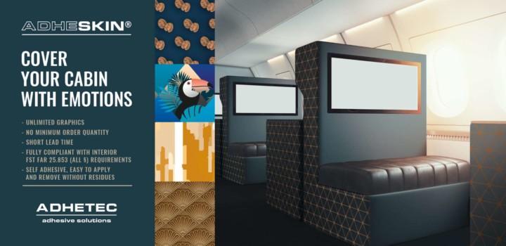 Adhetec, decoratieve films for aircraft cabins